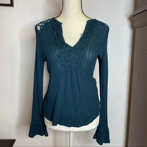 Teal Lucky Brand Thermal Top with Lace Detailing